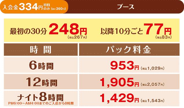 快活クラブ 成田ニュータウン店の料金
